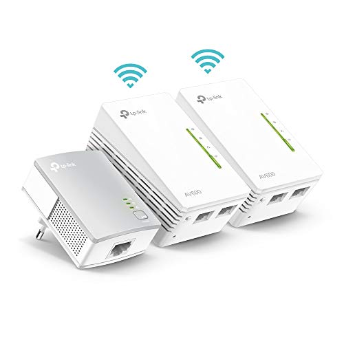 TP-Link TL-WPA4220T KIT AV600 WLAN N300 WiFi Powerline (max. 600Mbit/s Powerline, max. 300Mbit/s WLAN 2,4GHz, Plug und Play, kompatibel zu allen Powerline Adaptern, 3-Teilig) weiß